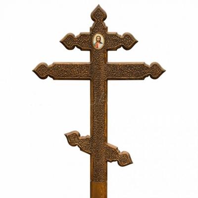 Крест на могилу из лиственницы Сердечки